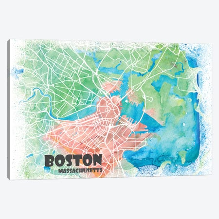 Boston Massachusetts Usa Clean Iconic City Map Canvas Print #MMB91} by Markus & Martina Bleichner Canvas Wall Art