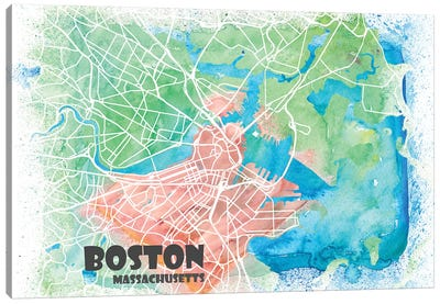 Boston Massachusetts Usa Clean Iconic City Map Canvas Art Print