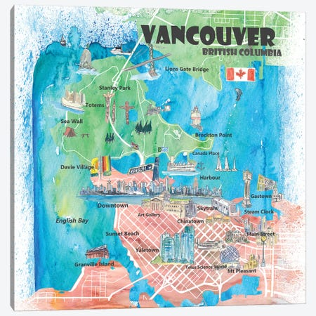 Vancouver British Columbia Canada Illustrated Map Canvas Print #MMB92} by Markus & Martina Bleichner Canvas Wall Art