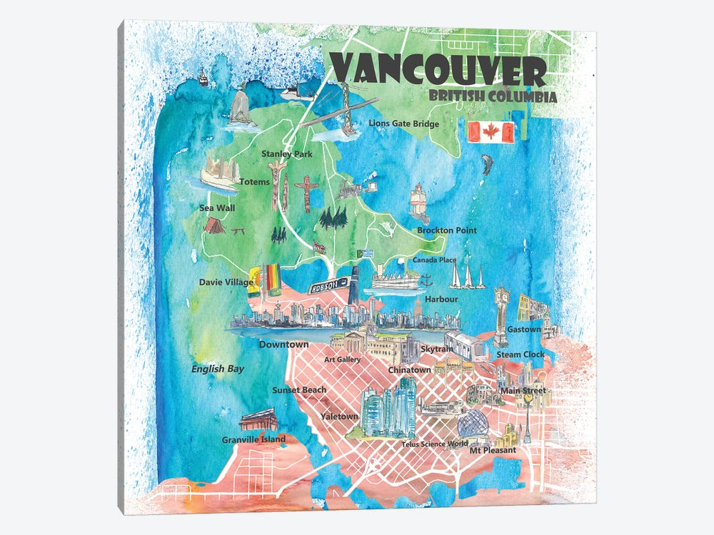 Vancouver British Columbia Canada Illustrated Map by Markus & Martina Bleichner 1-piece Canvas Artwork