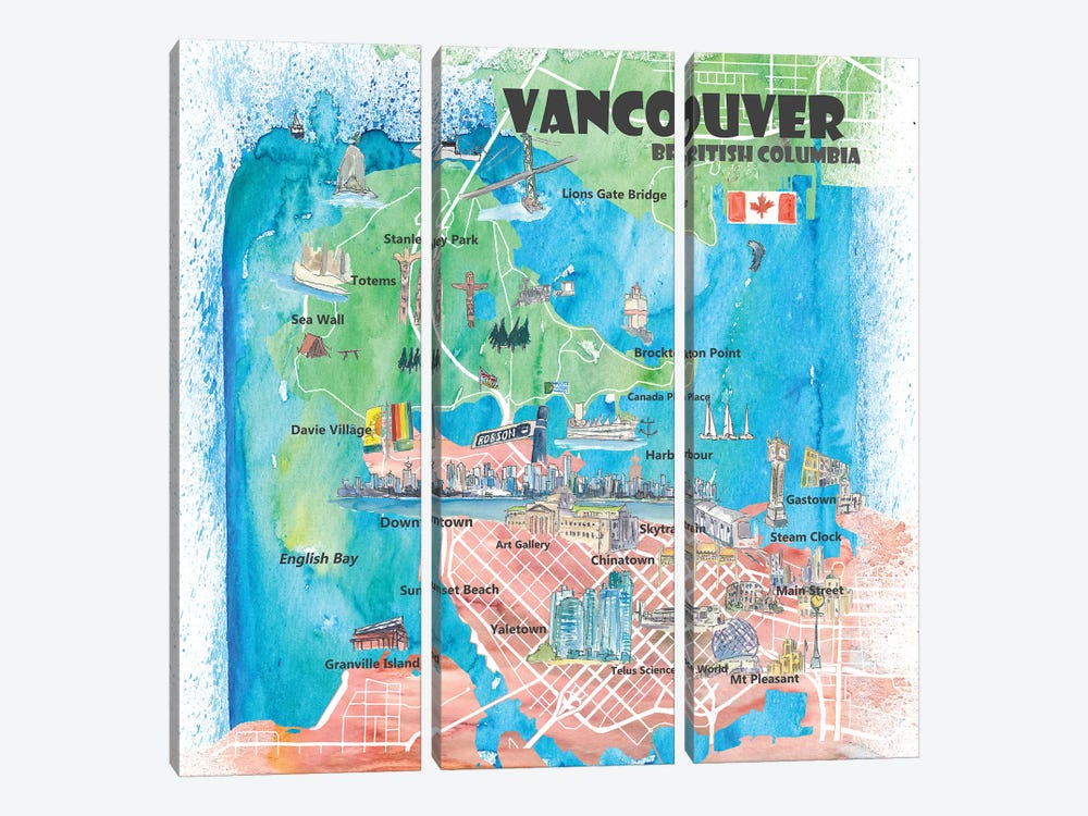 Vancouver British Columbia Canada Illustrated Map by Markus & Martina Bleichner 3-piece Canvas Art