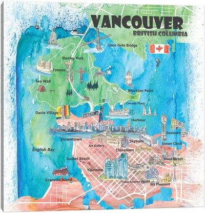 Vancouver British Columbia Canada Illustrated Map Canvas Art Print