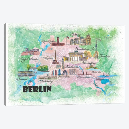 Berlin Germany Illustrated Map Canvas Print #MMB98} by Markus & Martina Bleichner Canvas Artwork