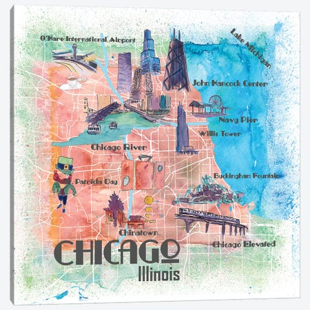 Chicago Illinois USA Illustrated Map Canvas Print #MMB99} by Markus & Martina Bleichner Canvas Art