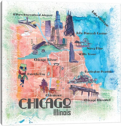 Chicago Illinois USA Illustrated Map Canvas Art Print