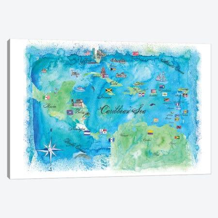Caribbean Cruise Travel Poster Canvas Print #MMB9} by Markus & Martina Bleichner Canvas Print