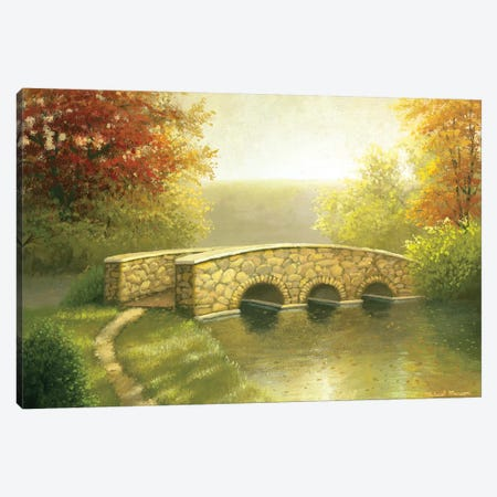 Autumn Bridge I Canvas Print #MMC28} by Michael Marcon Canvas Artwork