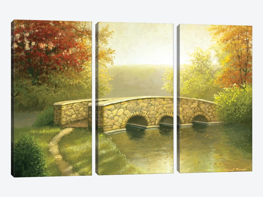 Autumn Bridge I by Michael Marcon 3-piece Canvas Artwork