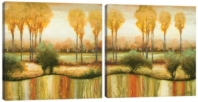 Early Morning Meadow Diptych Canvas Art Print