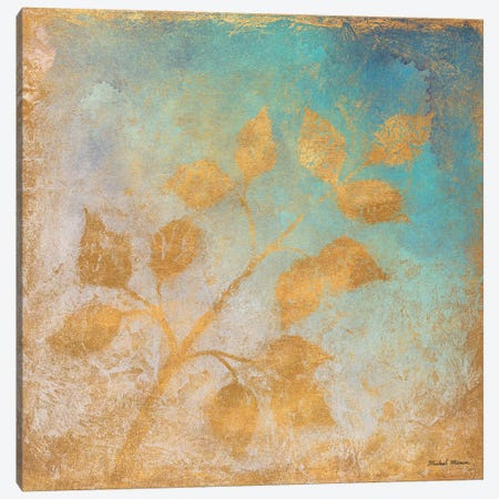 Gold Leaves on Blues I Canvas Print #MMC5} by Michael Marcon Canvas Print