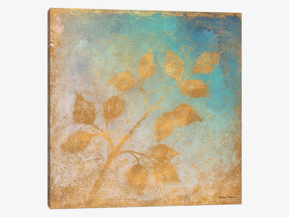 Gold Leaves on Blues I by Michael Marcon 1-piece Art Print