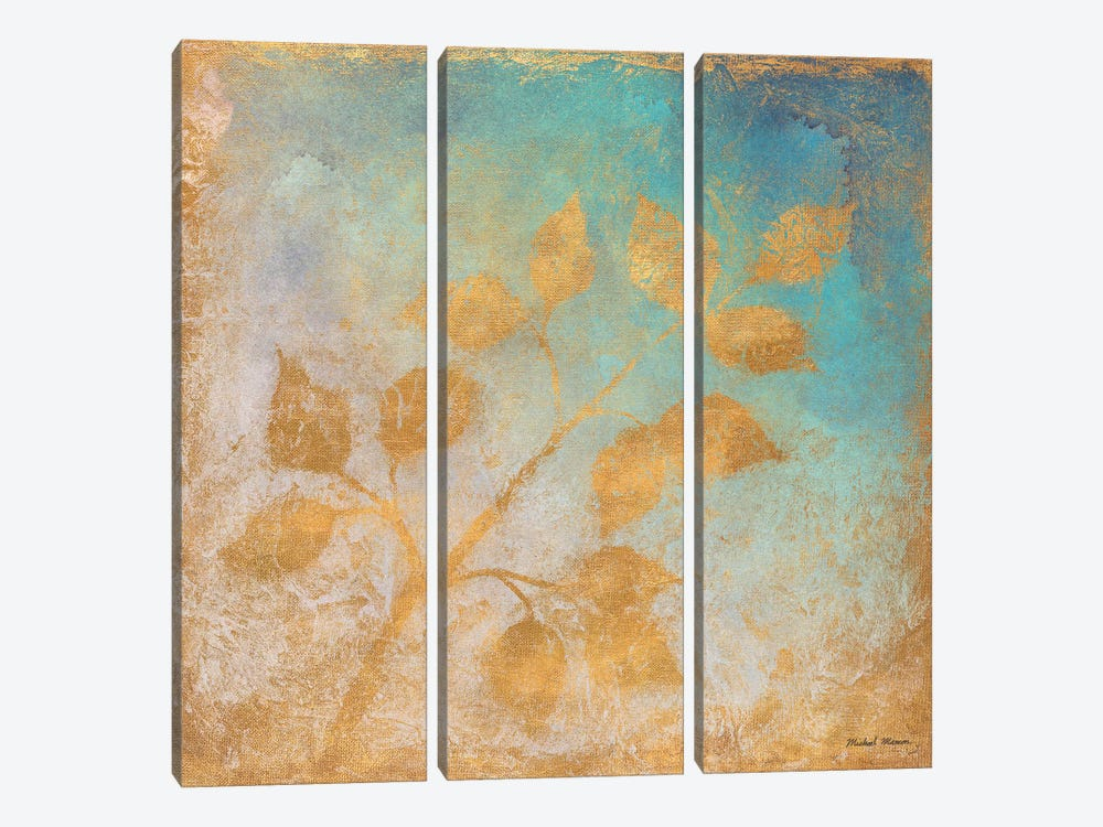 Gold Leaves on Blues I by Michael Marcon 3-piece Canvas Art Print