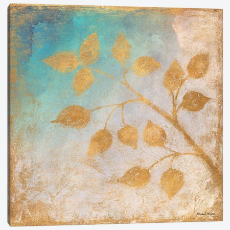 Gold Leaves on Blues II Canvas Print #MMC6} by Michael Marcon Canvas Art Print