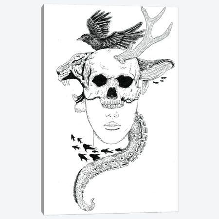 Skull Head Canvas Print #MML15} by Mister Merlinn Art Print