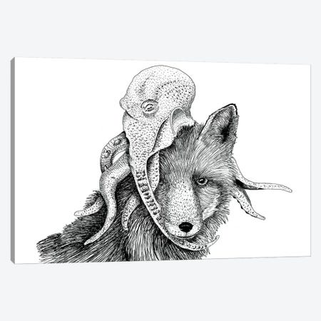 Wolf + Octopus Canvas Print #MML19} by Mister Merlinn Canvas Wall Art