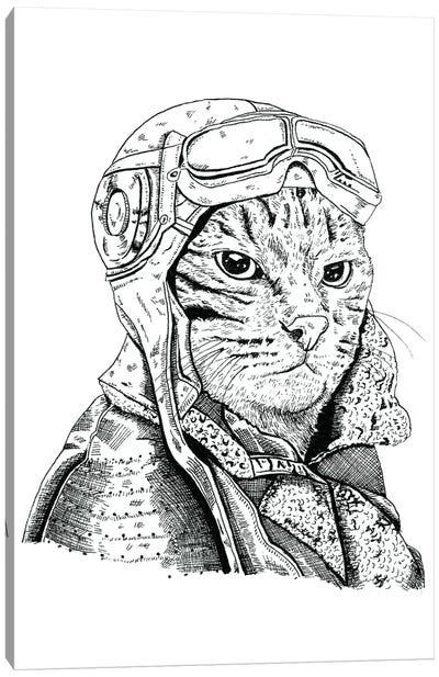 Cat Pilot Canvas Art Print