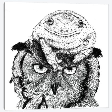 Grumpy Owl Canvas Print #MML7} by Mister Merlinn Canvas Art