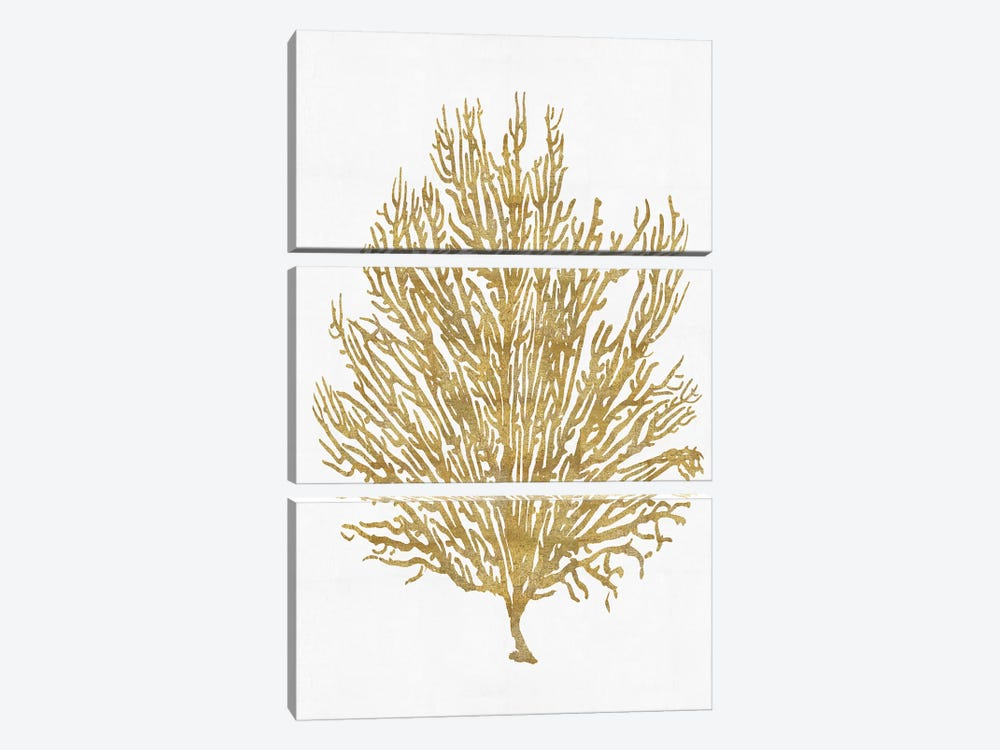 Gold On White V by Melonie Miller 3-piece Canvas Wall Art