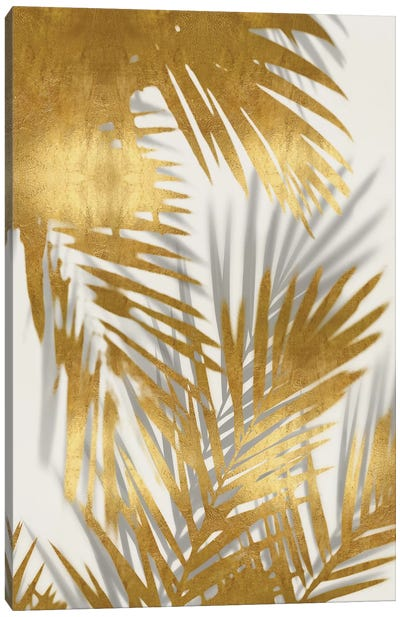 Palm Shadows Gold II Canvas Art Print