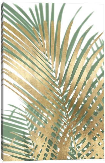 Palm Shadows Gold on Green I Canvas Art Print