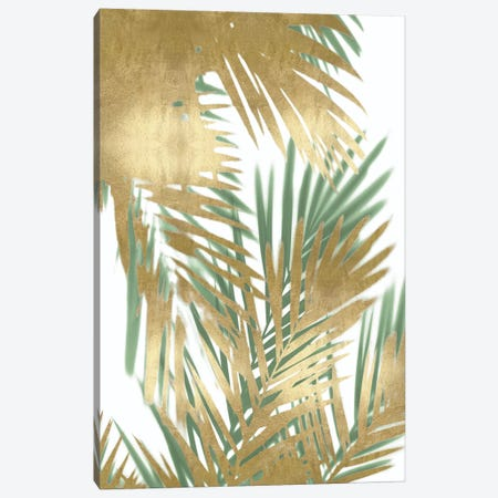 Palm Shadows Gold on Green II Canvas Print #MMR67} by Melonie Miller Canvas Artwork