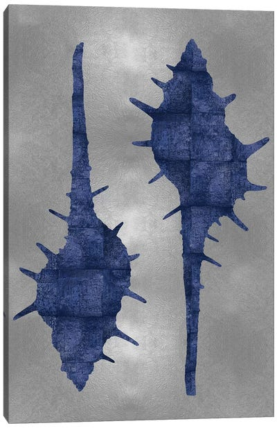 Sea Life Series: Blue On Silver II Canvas Print #MMR6