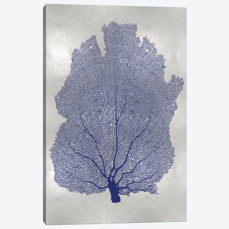 Sea Fan Indigo Blue I Canvas Print #MMR72} by Melonie Miller Canvas Wall Art