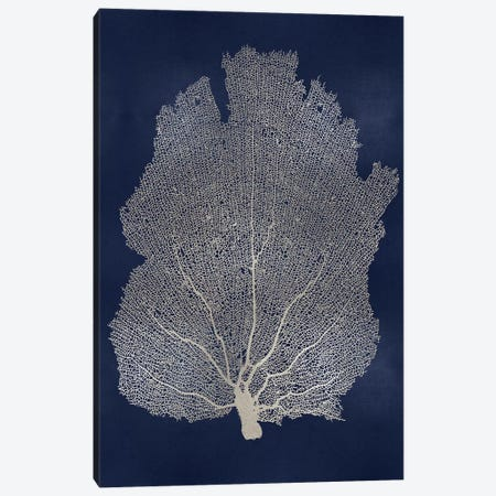 Sea Fan Silver on Blue I Canvas Print #MMR76} by Melonie Miller Art Print