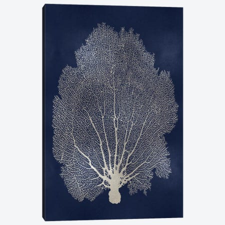 Sea Fan Silver on Blue II Canvas Print #MMR77} by Melonie Miller Art Print