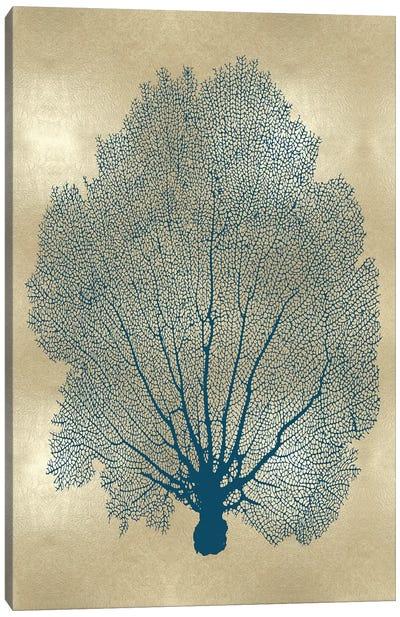 Sea Fan Teal on Gold II Canvas Art Print