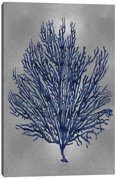 Sea Life Series: Blue On Silver V Canvas Print #MMR9