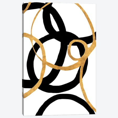 Black and Gold Stroke II Canvas Print #MMS10} by Megan Morris Canvas Art Print