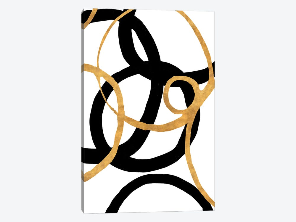 Black and Gold Stroke II by Megan Morris 1-piece Canvas Art