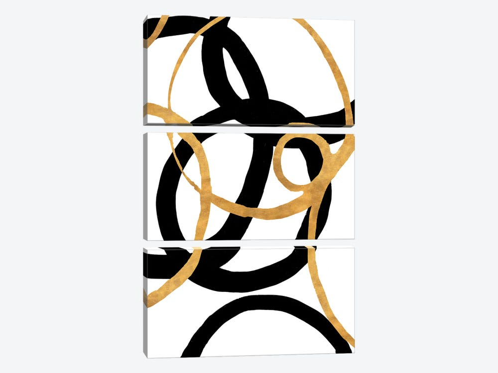 Black and Gold Stroke II by Megan Morris 3-piece Canvas Wall Art