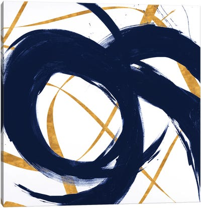 Navy with Gold Strokes II Canvas Art Print