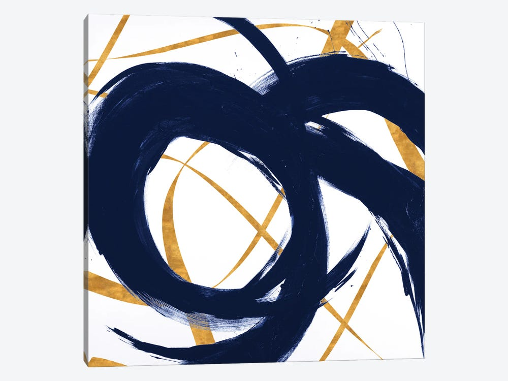 Navy with Gold Strokes II by Megan Morris 1-piece Canvas Artwork