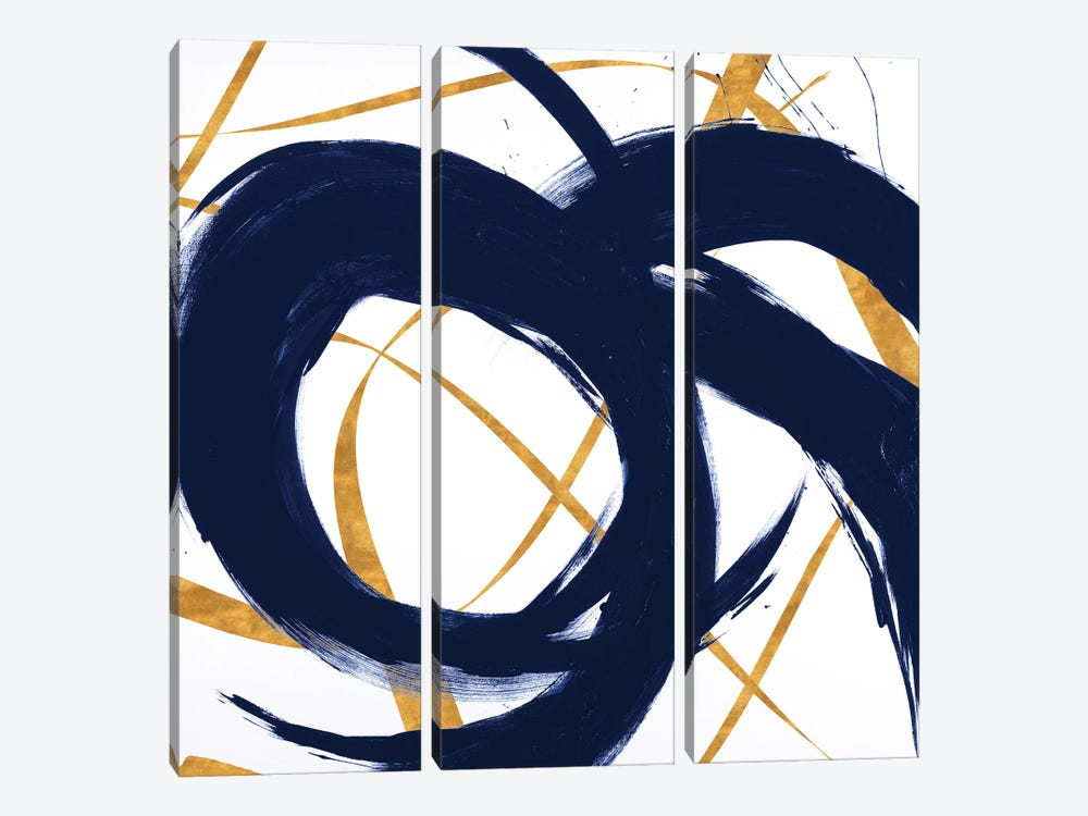 Navy with Gold Strokes II by Megan Morris 3-piece Canvas Art