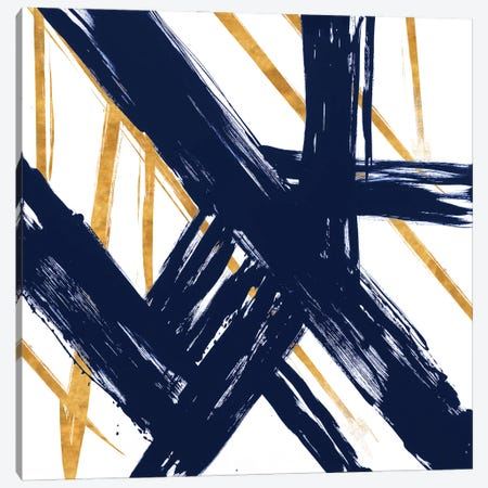 Navy with Gold Strokes III Canvas Print #MMS13} by Megan Morris Canvas Art Print
