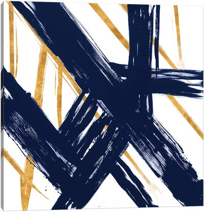 Navy with Gold Strokes III Canvas Art Print
