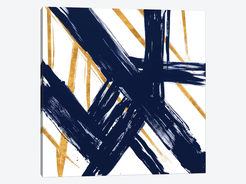 Navy with Gold Strokes III by Megan Morris 1-piece Canvas Print