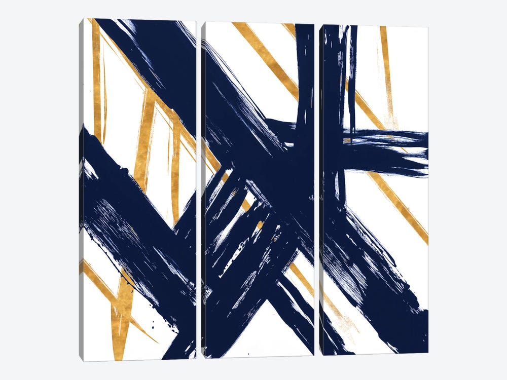 Navy with Gold Strokes III by Megan Morris 3-piece Art Print