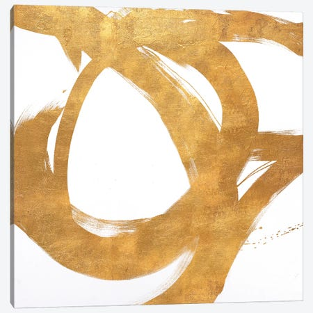 Gold Circular Strokes I Canvas Print #MMS2} by Megan Morris Canvas Print