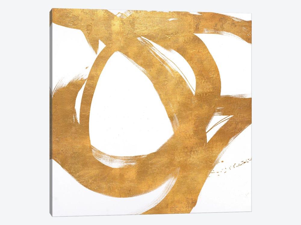 Gold Circular Strokes I by Megan Morris 1-piece Canvas Art