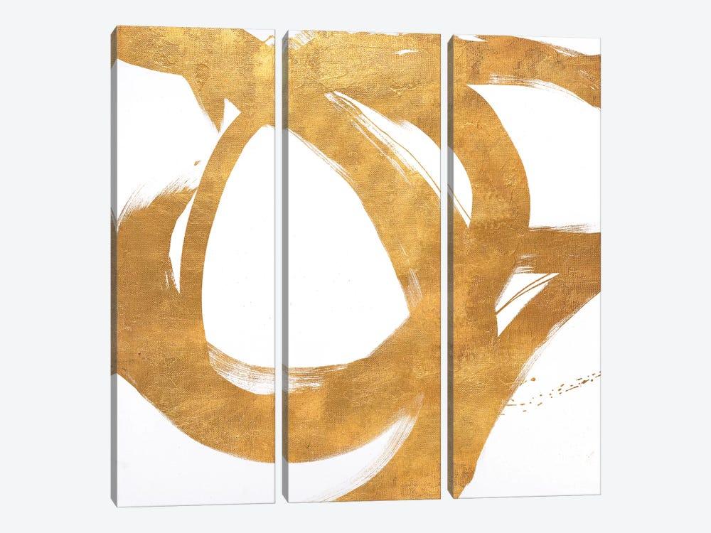 Gold Circular Strokes I by Megan Morris 3-piece Canvas Wall Art
