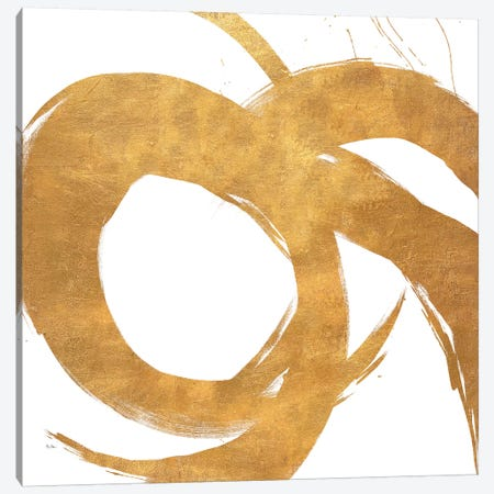 Gold Circular Strokes II Canvas Print #MMS3} by Megan Morris Art Print