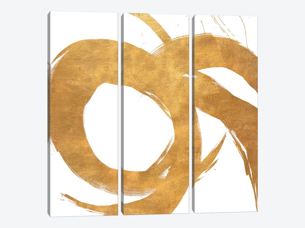 Gold Circular Strokes II by Megan Morris 3-piece Canvas Art Print