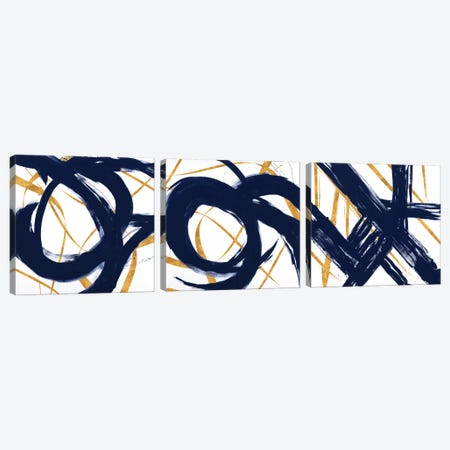 Navy with Gold Strokes Triptych Canvas Print Set #MMS3HSET001} by Megan Morris Canvas Art