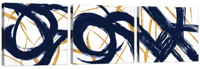 Navy with Gold Strokes Triptych Canvas Art Print