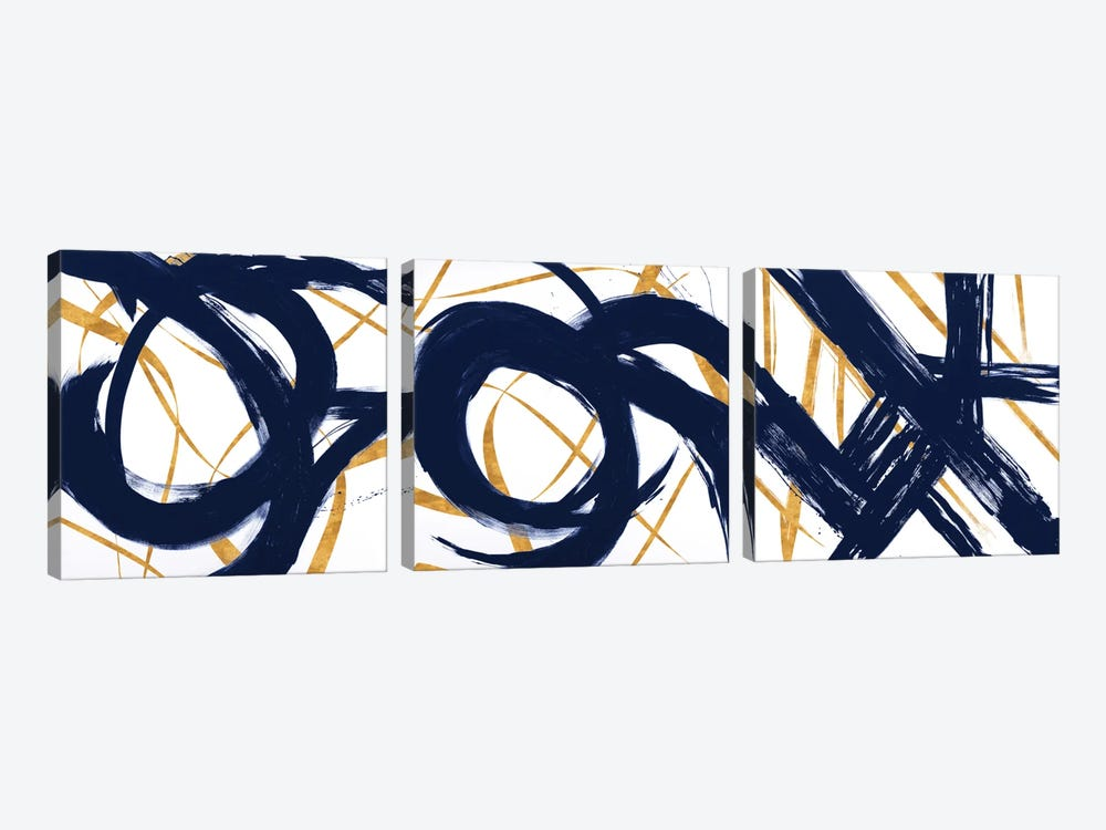 Navy with Gold Strokes Triptych by Megan Morris 3-piece Canvas Print