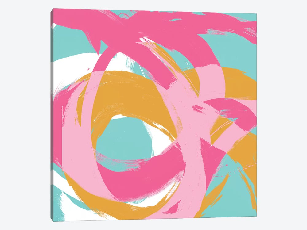 Pink Circular Strokes I by Megan Morris 1-piece Canvas Wall Art